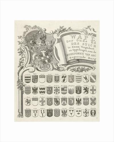 Coat of arms map of ancient families of Utrecht, The Netherlands, sheet top left by Johannes van Hiltrop