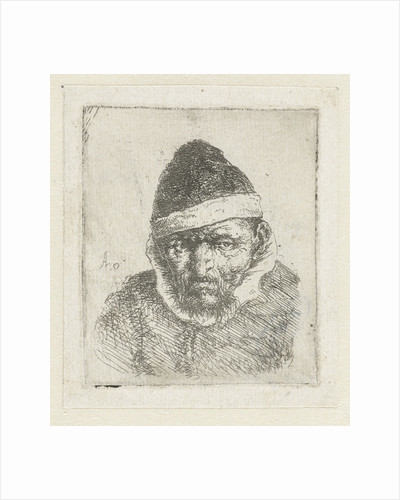 Bust of an old peasant with a pointed hat by Adriaen van Ostade
