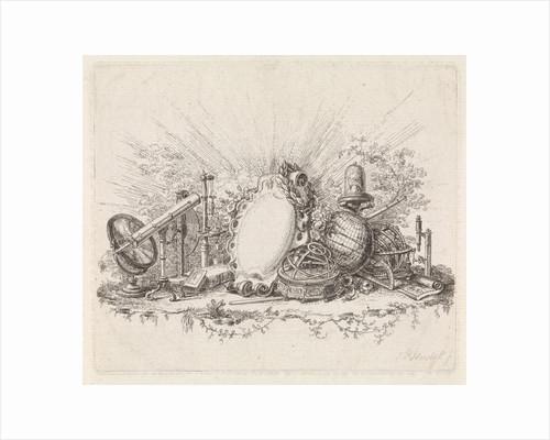 Cartouche surrounded by scientific instruments by Johannes Petrus van Horstok