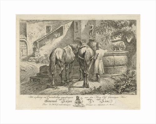 Drinking horses at a fountain by Maximiliaan Jacob de Man