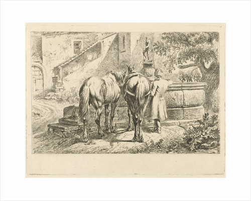 Drinking horses at a fountain by Johannes Mock