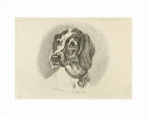 Dogs head with a necklace with ring by Johannes Mock