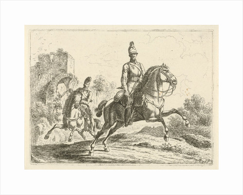 Two soldiers on horseback by Johannes Mock