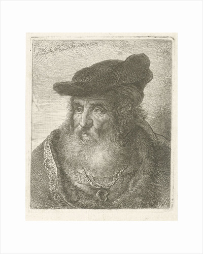 Portrait of an old man with beret by Johannes Mock
