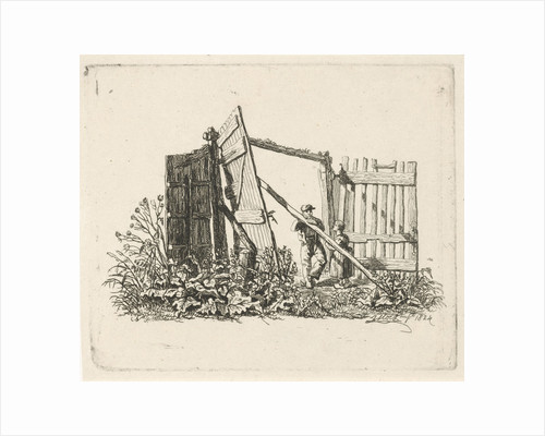 Two figures in a gate open by Johannes Mock