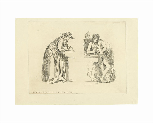Study Sheet with two male figures, F. Bruining by David Pièrre Giottino Humbert de Superville