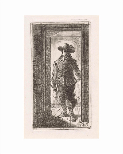 Man in seventeenth century dress, standing in a doorway by Jan Gerard Smits