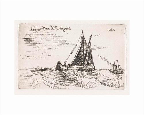 Sailing ship at sea by Joseph Hartogensis