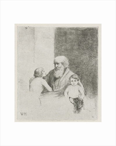 Old man with two kids and a dog by Christiaan Wilhelmus Moorrees