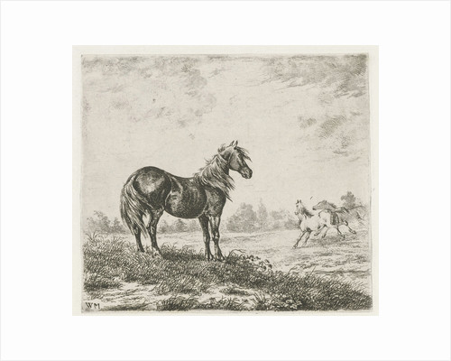 Landscape with three horses by Christiaan Wilhelmus Moorrees