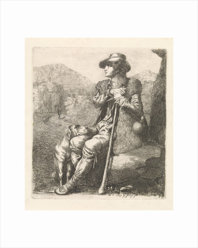Resting shepherd with dog by George Jooss