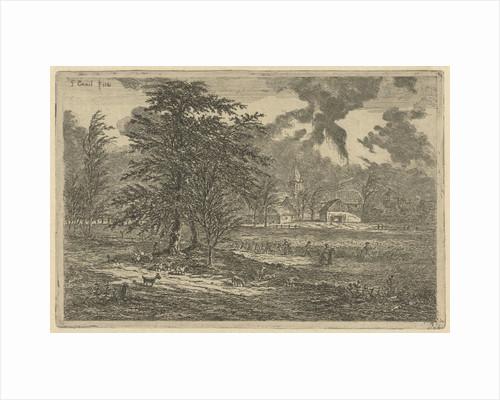 Shepherd in cornfield by Gerardus Emaus de Micault