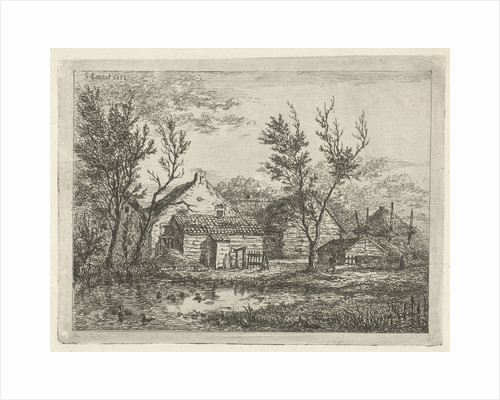 On a farm with several buildings and a haystack, a person walks near a tree, a pond with ducks by Gerardus Emaus de Micault