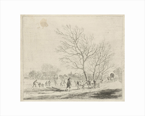 Winter Landscape with cows and skaters by Johannes Janson