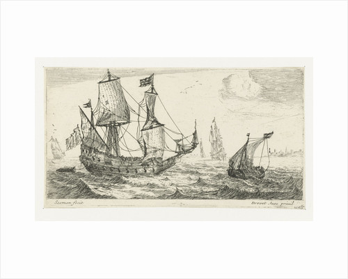 A large sailing ship, a pinnace, and a smaller ship, on the water, three large ships, a village right on the coast by Anonymous