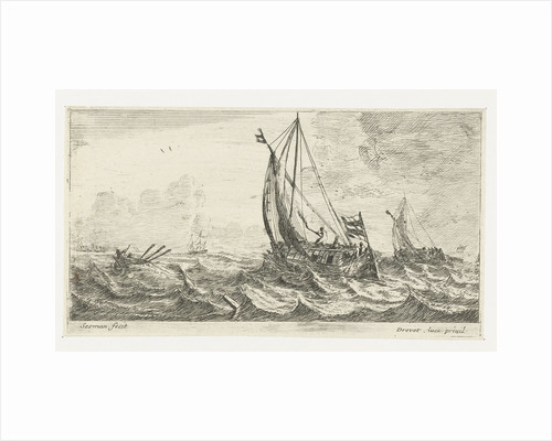 Two ferries and a rowing boat on a rough sea by Anonymous