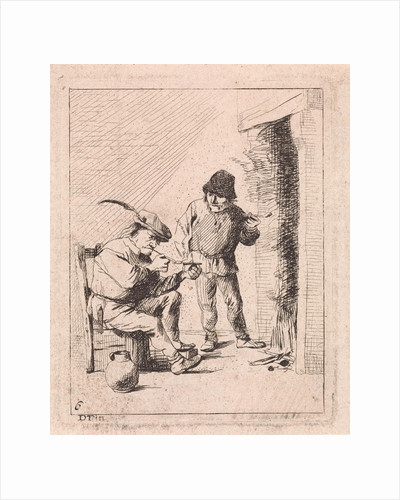 A standing and a seated peasant both smoking pipe by the fire, left a jar by David Teniers II