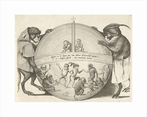 Title print of a series of six prints in which various human activities are represented by monkeys by Quirin Boel