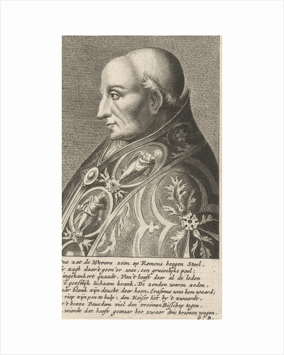 Portrait Bust of Pope Adrian VI with a richly ornamented robe by Hendrik Bary