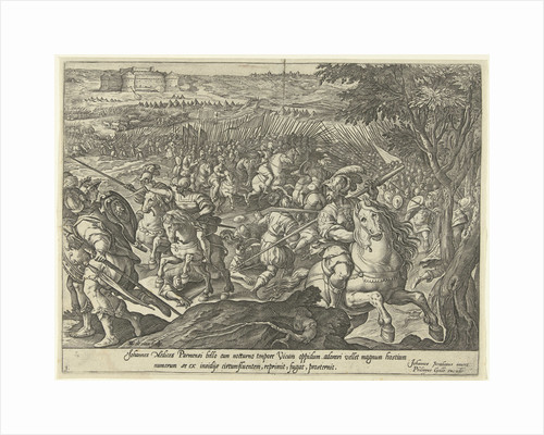 Cavalry skirmish, the siege of a fortress by Hendrick Goltzius