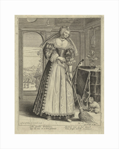 Woman with broom in an interior by Lodewijk XIII