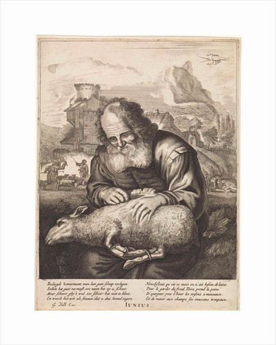 June: A shepherd shears a sheep by Joachim von Sandrart