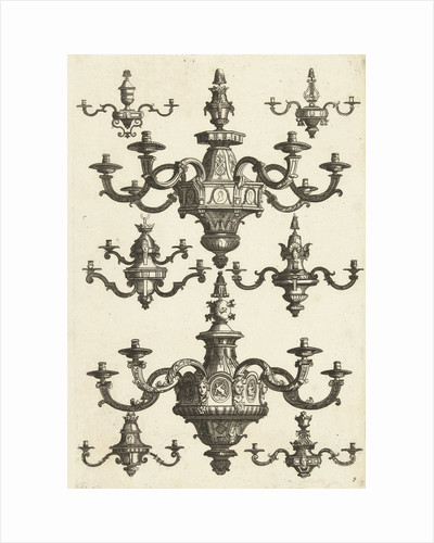 Two large and six small chandeliers, Daniël Marot (I) by Anonymous
