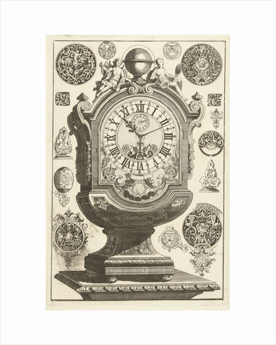 clock on pedestal, crowned with globe, Daniël Marot (I) by Anonymous
