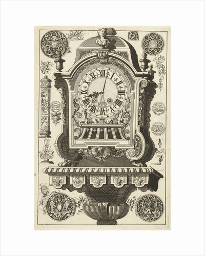 Clock on console awarded bust, Daniël Marot (I) by Anonymous