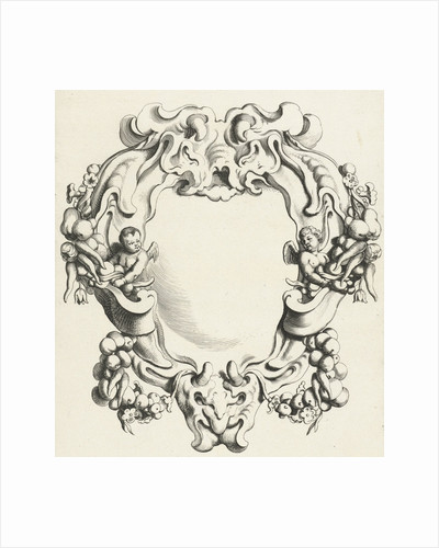 Cartouche with lobe ornament with two putti by Clement de Jonghe