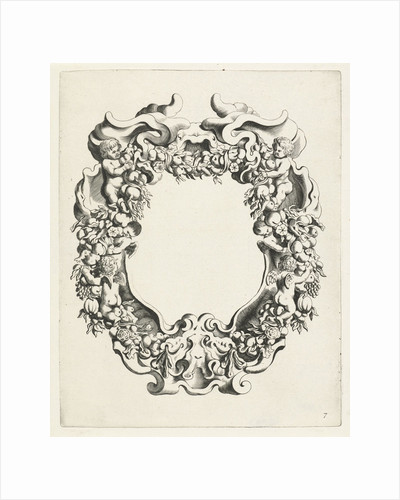 Cartouche with lobe ornament with two putti and four angels by Clement de Jonghe
