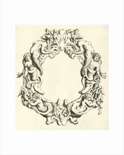 Both the lower right and left under a sea god blowing on a sea shell by Michiel Mosijn