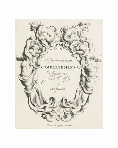 Cartouche with lobe ornament on both sides a female torso by Clement de Jonghe