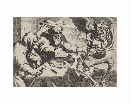 Old couple with bagpipes playing Death by Johannes de Ram