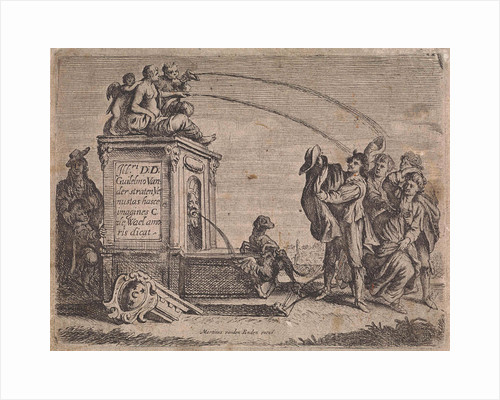 Group of people at fountain by Martinus van den Enden I