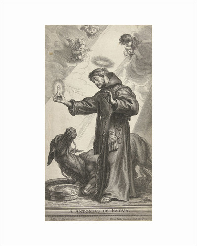 Saint Anthony of Padua made a wonder with donkey kneeling for host by Pieter de Bailliu I