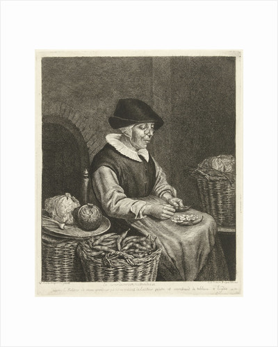 An old woman sitting in the kitchen on a chair and blanked beans in her apron by Louis Bernard Coclers