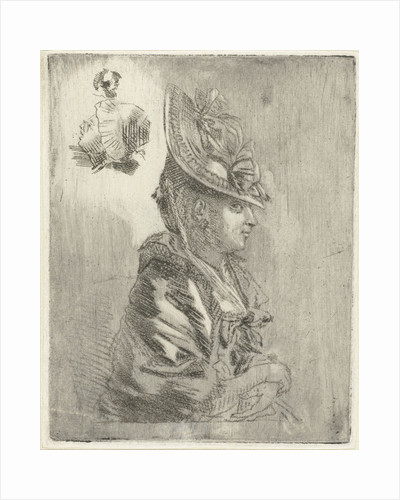 Study Sheet with the portrait of a young woman with hat and two smaller portraits by Louis Bernard Coclers