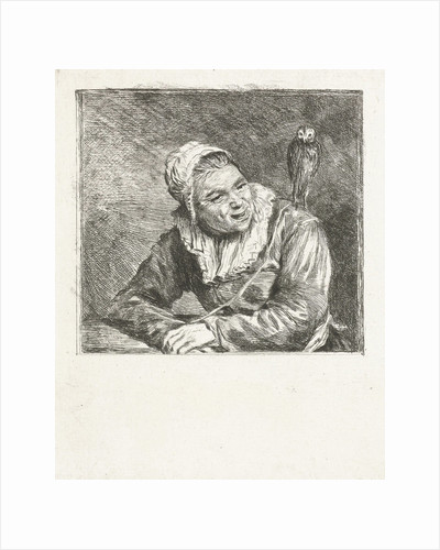 Portrait Bust of a smiling old woman with white cap and collar, on her shoulder is an owl by Louis Bernard Coclers