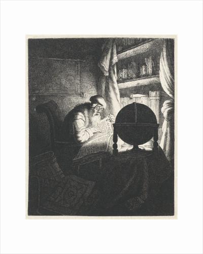 Reading man with glasses in a study room by Jan Gillisz. van Vliet