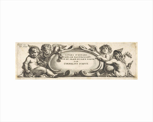 Four putti around a cartouche by Anonymous