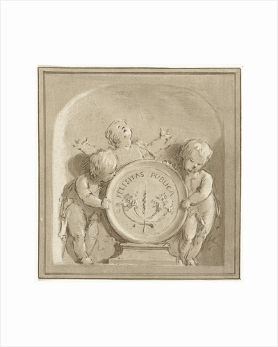 Cherubs with a coat of arms by Jacob de Wit