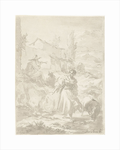 Shepherd sits on a rock and plays pipe, a shepherdess, goats by Jurriaan Cootwijck