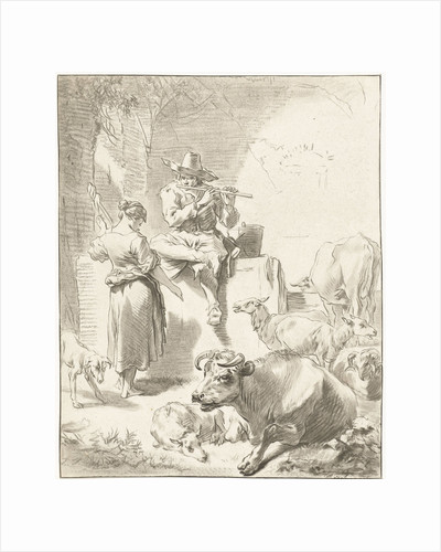 Shepherd sits on a rock and plays the flute, a shepherdess spinning, goats and cows are around the couple by Jurriaan Cootwijck