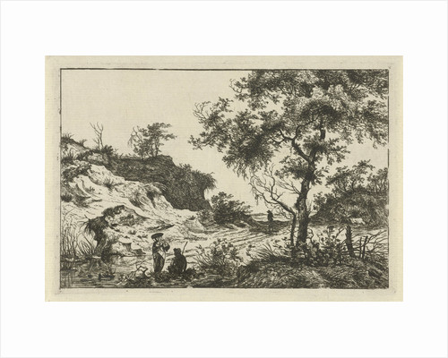 Dune landscape with a large tree, a woman at a pool and a seated man, a man on the track by Hermanus Fock