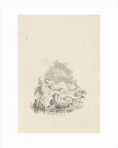 Against rock sleeping woman by Hermanus Fock
