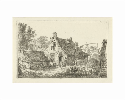Farm with standing man and woman sitting by Hermanus Fock