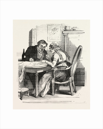 French Man and Woman Playing Cards by Anonymous