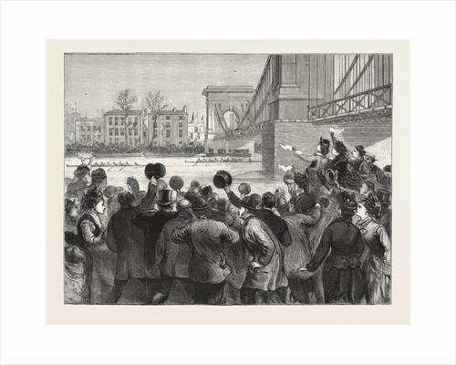 The University Boat Race the Struggle at Hammersmith Bridge. Cambridge Leading, London by Anonymous