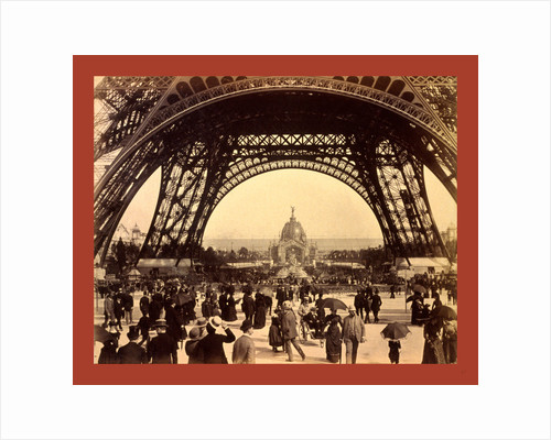 Crowd of People Walking Under the Base of Eiffel Tower, View Toward the Central Dome, Paris Exposition, 1889, France by Anonymous